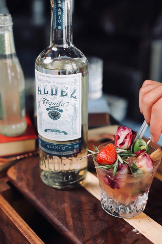 Organic premium tequila with elaborate garnish